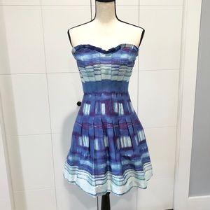 Anthropologie Sine blue purple strapless dress
